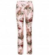 DOLCE & GABBANA pink cat print silk trousers