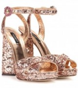 DOLCE & GABBANA Sequin-embellished leather sandals ~ beautiful Italian shoes