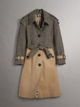 BURBERRY Donegal Tweed and Cotton Gabardine Trench Coat – single breasted trench coats – autumn/winter style