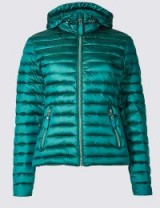 PER UNA Down & Feather Jacket with Stormwear™ / teal puffer jackets / Marks and Spencer padded coats