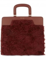 DRIES VAN NOTEN Shearling panel leather tote – fluffly handbags