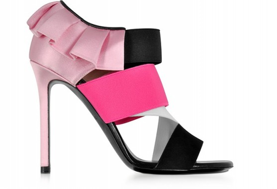 EMILIO PUCCI Black, White and Fuchsia Suede and Silk High Heel Sandals #heels #statement #pink #girly #shoes
