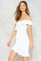 NASTY GAL End It On This Ruffle Dress ~ white off shoulder party dresses