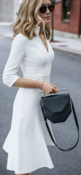 White fit and flare dress and a M2MALLETIER top-bar geometric shoulder bag / stylish outfits / chic looks
