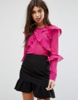Fashion Union Blouse With Ruffle Layers In Sheer Fabric | hot pink blouses
