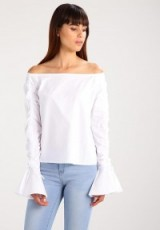 Fashion Union TYGER Blouse | white ruched sleeve bardot blouses/tops