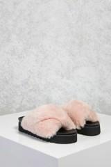 Forever 21 Faux Fur Platform Sandals | blush-pink fluffy flats