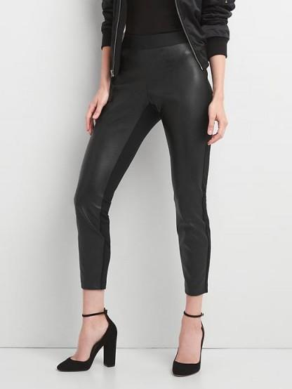 GAP Faux leather-front leggings #trousers #black #skinny