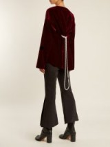 MM6 BY MAISON MARGIELA Faux pearl-embellished tie-waist velvet top – burgundy tops – autumn colours