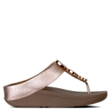 FITFLOP Halo Rose Gold Leather Toe Post Sandals | low wedge heel sandal
