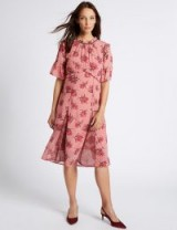 M&S COLLECTION Floral Print Ruffle Half Sleeve Midi Dress / pink dresses
