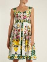 DOLCE & GABBANA Floral-print gathered-skirt cotton-poplin dress