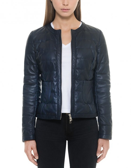 FORZIERI Dark Blue Quilted Leather Women's Jacket #jackets #casual #stylish