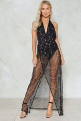 Nasty Gal Get a Thread Start Floral Dress ~ sheer black evening dresses