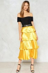 NASTY GAL Get Glowing Metallic Skirt ~ yellow tiered skirts ~ party fashion