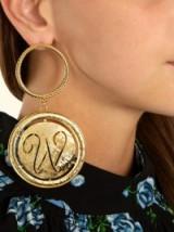 EMILIA WICKSTEAD Glenda gold-plated hoop and disc-drop earrings ~ statement jewellery