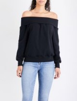 GOOD AMERICAN Off-the-shoulder cotton-jersey sweatshirt | black bardot sweatshirts