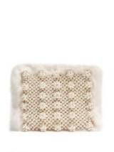 SHRIMPS Graham faux-fur clutch ~ white fluffy bead embellished evening bags