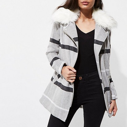 RIVER ISLAND Grey check faux fur collar biker coat