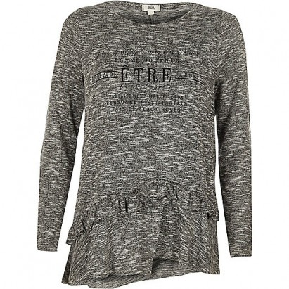 River Island Grey 'etre' frill long sleeve T-shirt #casual #fashion