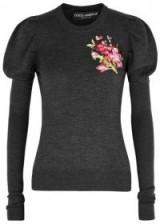 DOLCE & GABBANA Grey floral-embroidered wool jumper ~ grey puff sleeved jumpers ~ feminine knitwear ~ beautiful Italian fashion