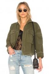 GRLFRND DORIAN OVERSIZED CROP ARMY JACKET | green distressed cropped denim jackets