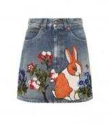GUCCI Embroidered denim miniskirt | bunny embroidery | floral mini skirts