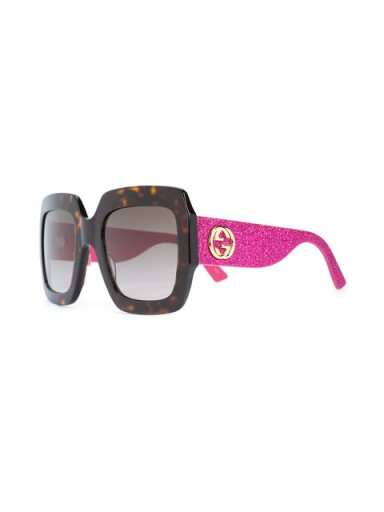 GUCCI EYEWEAR wide tinted glitter sunglasses