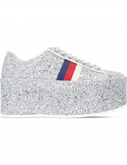 GUCCI Peggy glitter platform trainers #silver #platforms #sneakers