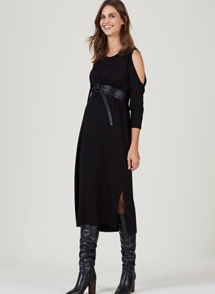 ISABELLA OLIVER HALINA MATERNIY CUT OUT DRESS ~ black cold shoulder dresses - flipped