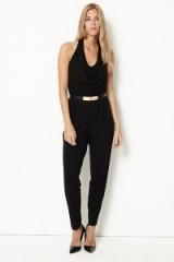 damsel in a dress HALTERNECK JUMPSUIT / black evening jumpsuits