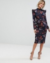 Hope & Ivy Long Sleeve Floral Printed Dress With Frill Detail #evening #dresses #feminine