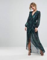 Hope & Ivy Long Sleeve Wrap Detail Floral Maxi Dress