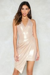 Nasty Gal I Wanna Dance With Somebody Metallic Dress ~ asymmetric evening dresses