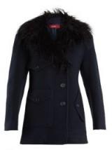 SIES MARJAN Ivy wool-blend felt pea coat – navy faux-shearling collar coats – winter style
