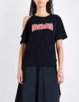 IZZUE Nevermind cotton-jersey T-shirt | single cold shoulder t-shirts