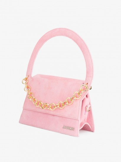 Jacquemus Le Petit Rond Small Bag With Gold Chain / pastel pink top handle bags
