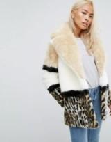 Jakke Colourblock Faux Fur Coat With Leopard Panel – luxe animal print coats – winter style