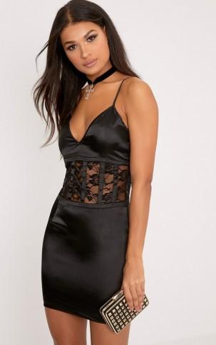 pretty little thing kadija black satin lace corset detail