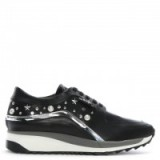KARL LAGERFELD Celestia Runner Black Leather Trainers | embellished sneakers