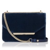 L.K. Bennett KARLA BLUE VELVET NAPPA SHOULDER BAG