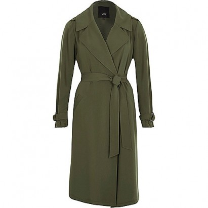 RIVER ISLAND Khaki green belted duster trench coat