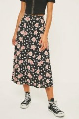 Kimchi Blue Lulu Floral Button-Through Midi Skirt