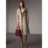 BURBERRY Lace Detail Cotton Gabardine Trench Coat – ruffle trim trench coats – chic autumn/winter style
