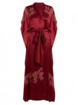 CARINE GILSON Lace-appliqué silk-satin kimono ~ red robes ~ luxury nightwear ~ long kimonos