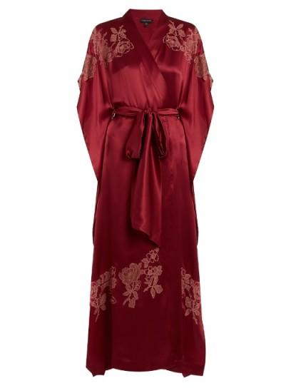 CARINE GILSON Lace-appliqué silk-satin kimono ~ red robes ~ luxury nightwear ~ long kimonos
