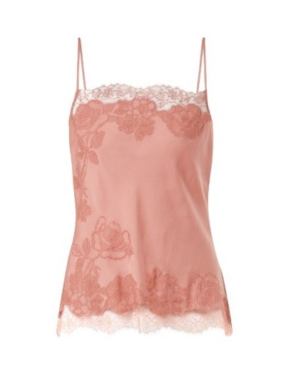 CARINE GILSON Lace-trimmed silk-satin cami top ~ luxe nightwear - flipped