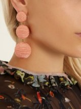 REBECCA DE RAVENEL Laeticia drop earrings ~ statement jewellery ~ peach-pink silk cord