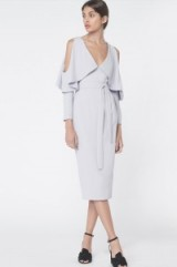 lavish alice Drop Sleeve Midi Dress in Dove Grey #dresses #evening #tailored