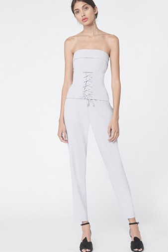 Lavish Alice Corset Panel Tailored Jumpsuit in Dove Grey – fitted jumpsuits